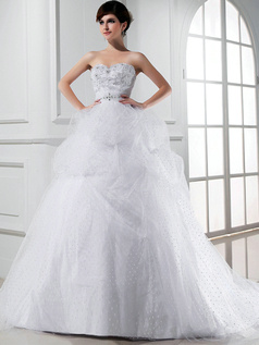 Precious Ball Gown Tulle Sweetheart Embroidery Wedding Dresses