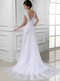 Tactile Sensation Column Tulle V-neck Beading Wedding Dresses