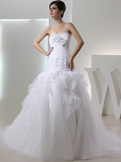 Shining Mermaid Tulle Strapless Flower Wedding Dresses