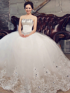 Ball Gown Tube Top Strapless Floor-length Tulle Lace Rhinestone Wedding dress