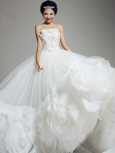 Ball Gown Tube Top Strapless Floor-length Tulle Beading Wedding Dresses With Big Flowers