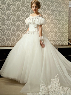 A-line Off-the-shoulder Bubble Sleeve Chapel Train Tulle Beading Wedding Dresses