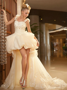 Princess Sweetheart Flower Straps Sweep Train Tulle Appliques Bubble Skirt High Low Wedding Dresses