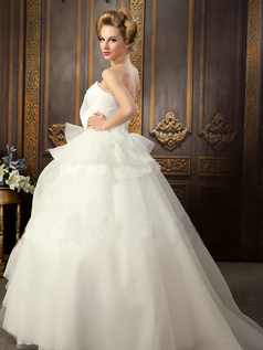 Princess Scalloped Edge Brush Train Tulle Beading Wedding Dresses