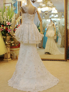 A-line Crystals Straps Brush Train Tulle Sequin Rhinestones Wedding Dresses With Peplum