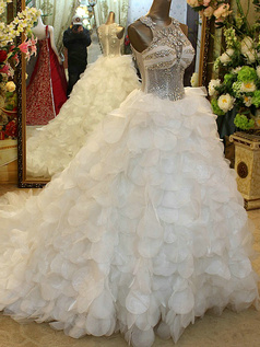 Princess Round Brought Leaves Court Train Tulle Crystal Semi Transparent Bodice Wedding Dresses