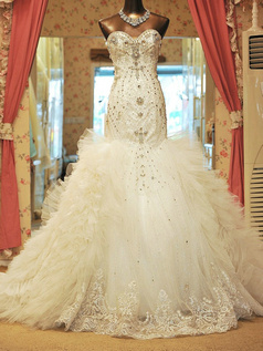 Over Hip Strapless Sweetheart Ruffle Chapel Train Tulle Sequin Wedding Dresses With Crystals