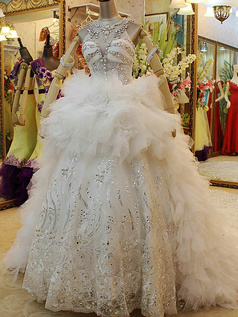 Princess Round Brought Jewelry sleeves Floor-length Tulle Lace Ruffle Wedding Dresses