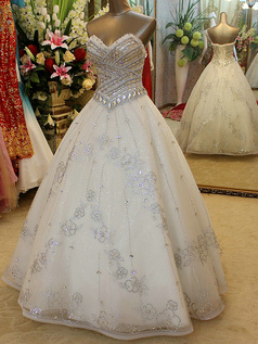 Ball Gown Strapless Floor-length Tulle Beading Wedding Dresses With Crystals And Rhinestones Bodice