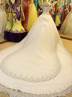 Princess Sweetheart Chapel Train Tulle Crystal Wedding Dresses With Crystals And Rhinestones Bodice