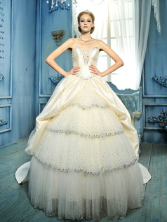 Royal Ball Gown Sweetheart Chapel Train Tulle  Rhinestones And Sequins Tiered Wedding Dresses