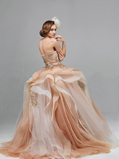 Ball Gown Tube Top Sweep Train Tulle Appliques Ruched Ruffle Champagne Wedding Dresses