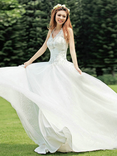 Ball Gown Halter Floor-length Tulle Beading Sequin Wedding Dresses