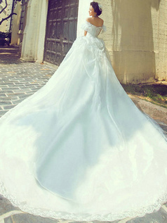 Ball Gown Off-the-shoulder Lotus Leaf Sleeves Chapel Train Tulle Wedding Dresses