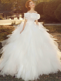 Ball Gown Off-the-shoulder Bubble Sleeves Floor-length Tulle Sequin Ruffle Wedding Dresses