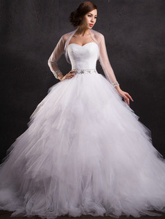 A-line Sweetheart Court Train Tulle Crystal Ruffle Wedding Dresses With Jacket