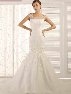Mermaid Off-the-shoulder Sweep Tulle Crystal Flower Wedding Dresses With Semi Transparent