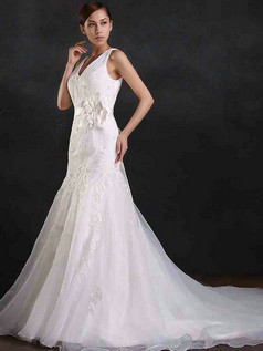 Mermaid V-neck Court Train Tulle Flower Sashes Wedding Dresses