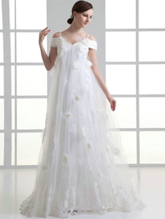 A-line Spaghetti Straps Off-the-shoulder Sweep Tulle Short Sleeve Wedding Dresses With Flower