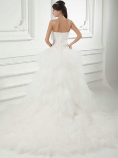 Princess Sweetheart Court Train Tulle Crystal Ruffle Wedding Dresses