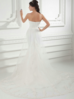 Over Hip Sweetheart Court Train Tulle Sequin Wedding Dresses