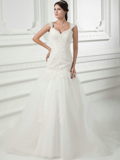 Mermaid V-neck Brush Train Tulle Crystal Beading Wedding Dresses