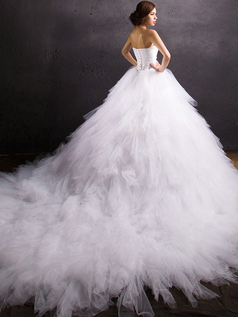 Princess Sweetheart Chapel Train Tulle Ruffle Crystal Wedding Dresses With Jacket