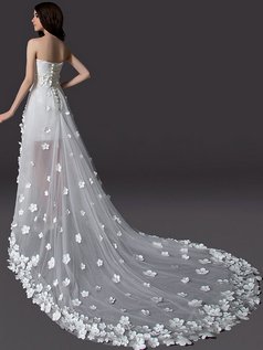 A-line Strapless Brush Train Tulle High Low Beading Flower Wedding Dresses