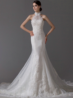 Mermaid Halter Court Train Tulle Beading Lace Wedding Dresses