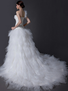 Princess One Shoulder Court Train Tulle Ruffle Wedding Dresses