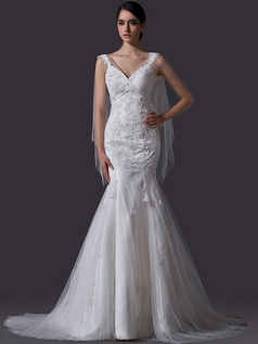 Mermaid V-neck Straps Brush Train Tulle Beading Lace Wedding Dresses