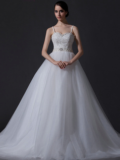 Ball Gown Spaghetti Straps Chapel Train Tulle Beading Wedding Dresses
