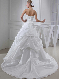 Over Hip Tube Top Court Train Stretch Satin Pick-Ups Wedding Dresses