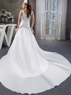 A-line Straps Court Train Stretch Satin Beading Sequin Wedding Dresses
