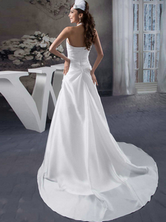 A-line Halter Brush Train Stretch Satin Tiered Beading Wedding Dresses
