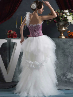 Princess One Shoulder Brush Train Tulle High Low Ruffle Lace Wedding Dresses
