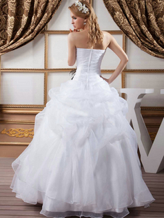 Ball Gown Strapless Floor-length Organza Sequin Wedding Dresses
