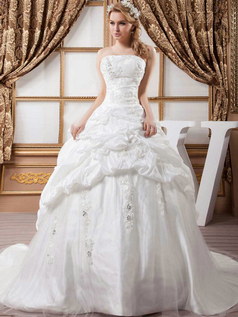 Ball Gown Tube Top Brush Train Stretch Satin Pick-Ups Wedding Dresses