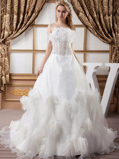 A-line Strapless Brush Train Organza Sequin Wedding Dresses