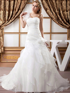 Mermaid One Shoulder Brush Train Organza Flower Tiered Wedding Dresses
