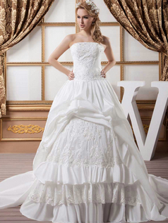 Ball Gown Strapless Court Train Stretch Satin Sequin Wedding Dresses