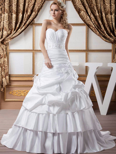 Mermaid Strapless Brush Train Stretch Satin Beading Wedding Dresses