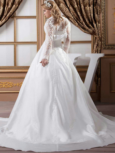A-line Sweetheart Brush Train Stretch Satin Long Sleeve Sequin Wedding Dresses With Jacket