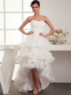 Princess Strapless Floor-length Tulle High Low Tiered Wedding Dresses