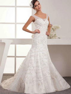 Mermaid Scoop Brush Train Organza Beading Sequin Wedding Dresses