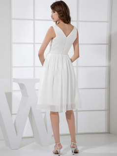 A-line V-neck Knee-length Chiffon Draped Wedding Dresses