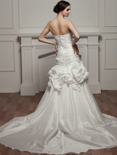 Mermaid Strapless Court Train Taffeta Beading Tiered Wedding Dresses