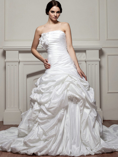 Mermaid Strapless Court Train Taffeta Flower Pick-Ups Wedding Dresses