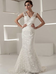 Mermaid V-neck Straps Brush Train Sequin Beading Lace Wedding Dresses