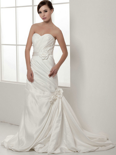 Over Hip Strapless Brush Train Taffeta Side-draped Wedding Dresses With Flower